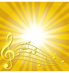 yellow music background with notes and flash vector image vector image