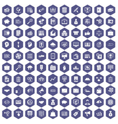 100 business process icons hexagon purple vector