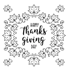 Trendy happy thanksgiving day card autumn frame vector