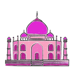 Taj mahal freehand colorful vector
