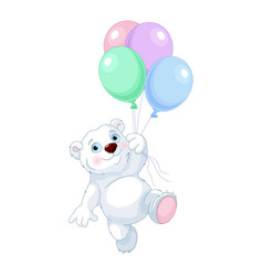 Polar bear flying with balloons vector