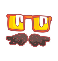 mustache and glasses colorful cartoon vector image