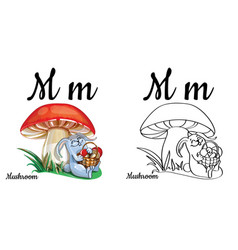 Mushroom alphabet letter m coloring page vector