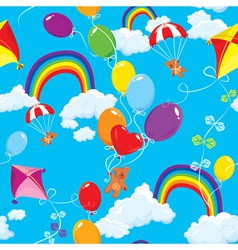 Seamless pattern with rainbows clouds vector image