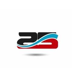 25 anniversary wave logo vector image vector image