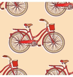 Seamless pattern with hand drawn vintage bicycles vector