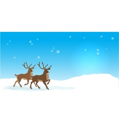 Christmas banner with reindeers vector