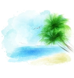 Background of a watercolor seascape vector