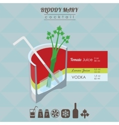 Bloody mary cocktail flat style isometric vector