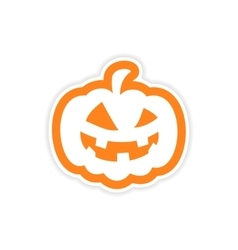 Icon sticker realistic design on paper pumpkin vector