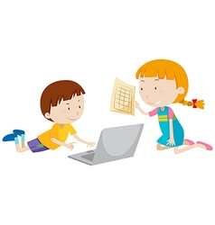 Boy and girl working on computer vector