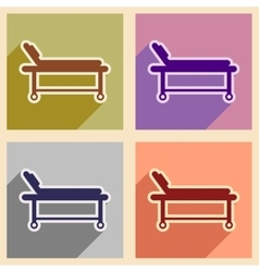Icons of assembly medical stretcher in flat style vector