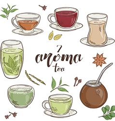 Set of 6 isolated cartoon hand drawn aroma tea vector