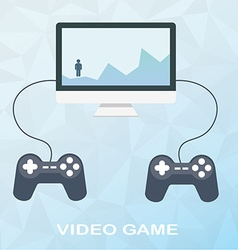 Video game on desktop with two joysticks in flat vector