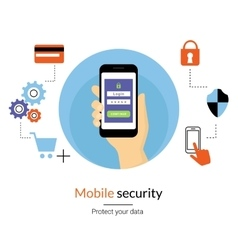 Mobile website authentication concept vector