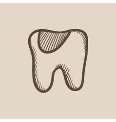 Tooth decay sketch icon vector