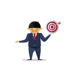 asian business man holding target with arrow vector image vector image