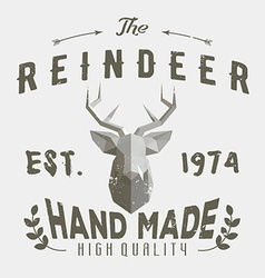 Authentic hipster logotype with polygonal reindeer vector image vector image