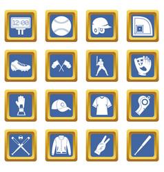 Baseball icons set blue vector