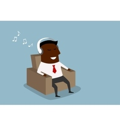 Black businessman listening to music on headphones vector