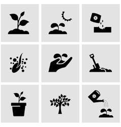 black growing icon set vector image vector image
