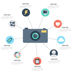 Camera with icons template vector image