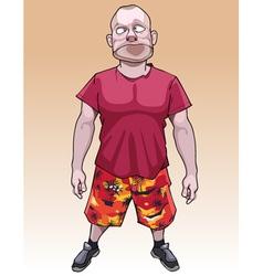 Cartoon funny bald man looks silly vector