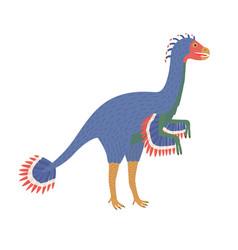 caudipteryx dinosaur in white background vector image
