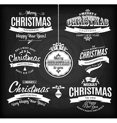 Christmas and happy new year lettetingType vector image vector image