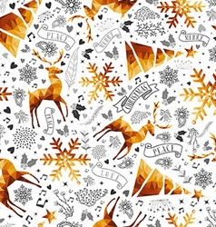 Christmas hand drawn and low poly symbols pattern vector