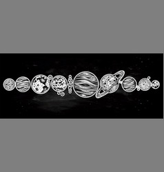 Collection of planets solar system dotwork set vector