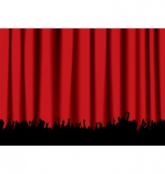 concert crowd red curtain vector image vector image