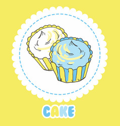 Creamy yellow and blue cupcakes on white vector