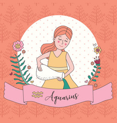 Cute horoscope zodiac girl aquarius vector