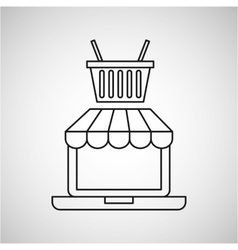 drawing ecommerce laptop basket shop icon vector image