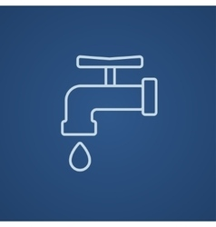Faucet with water drop line icon vector image vector image