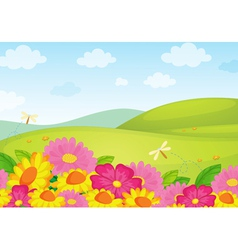 Floral field background vector