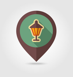 Garden lantern flat pin map icon vector
