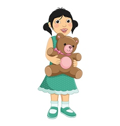 Girl hugging teddy bear vector