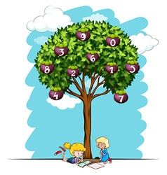Girls reading under tree with numbers vector