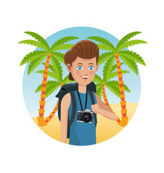 Guy photo camera backpack palm sand beach vector