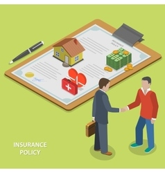 Insurance policy deal flat isometric vector