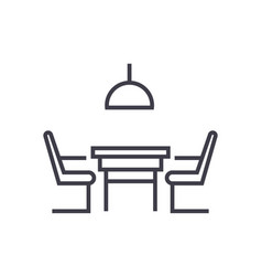 kitchen table with chairs linear icon sign vector image