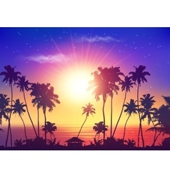 Ocean sunset sky with dark palm silhouettes vector
