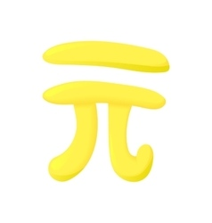 Pi sign icon cartoon style vector