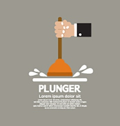 Plunger in mans hand graphic vector