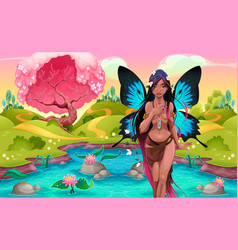 Portrait of a young fairy in a fantasy landscape vector