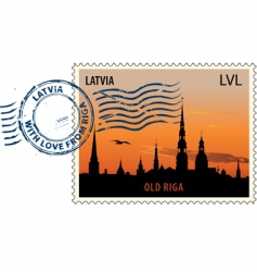 postmark from Latvia vector image