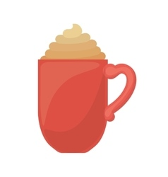 Red cup of cappuccino with cream vector