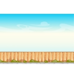 Rural wooden fence blue sky background vector image vector image